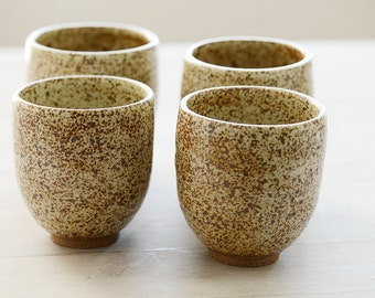 4 Wheel Thrown stoneware speckled tumblers or tea cups