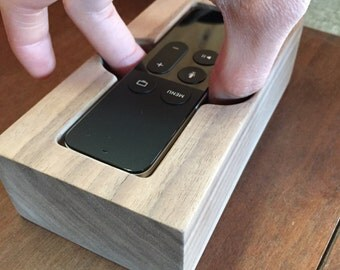 Apple TV 4 Siri Remote Holder/Cradle - Handcrafted out of Solid Hardwood (Walnut, Sapele, or Zebra Wood) - Free Shipping!