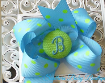New Item---Boutique Monogrammed Baby Toddler Girl Hair Bow Clip---POLKA DOTS---Turquoise and Lime---Letter B--Ready to Ship