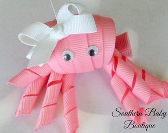 New Item---Boutique Hand Sculpted Ribbon 3-D Hair Clip Clippie----Little Miss Octapus---Pink with White Bow