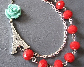 Statement Necklace Eiffel Tower Jewelry Red Necklace Bib Necklace Pendant Beaded Necklace