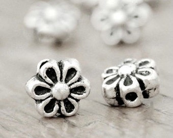 Antique Silver Flower Bead, 6.5MM, Pack Of 30 Beads