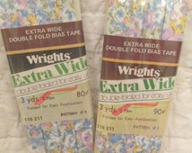 Vintage Extra Wide Double Fold Bias Tape  Wrights Floral 2 pkgs of 3 yards each more available