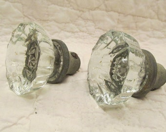 2 Antique Glass Door Knobs 12 sided