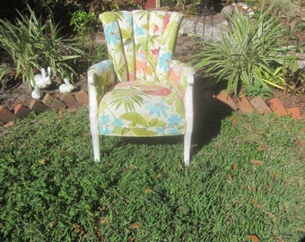 Antique Arm Chair Bergere with Channel Tufted Back