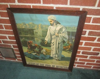 "Antique 1904 Large 25x31 Framed Lithograph Religious Print Titled ""Jesus at the Pool of Bethesda"""