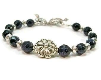 Gemstone and Silver Bracelet, Silver Bracelet, Blue Goldstone Bracelet, Gifts for Her, Blue Bracelet, Women's Jewelry