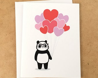 Nerdy Panda Heart Balloons Love Greeting Card