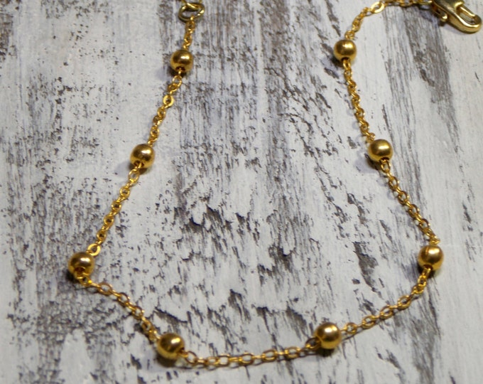 Gold Ankle Bracelet Boho Chic Ball Chain Beach Jewelry Ankle Jewelry Gold Chain Anklet Bohemian Layer Delicate Simple Minimalist Ball Chain