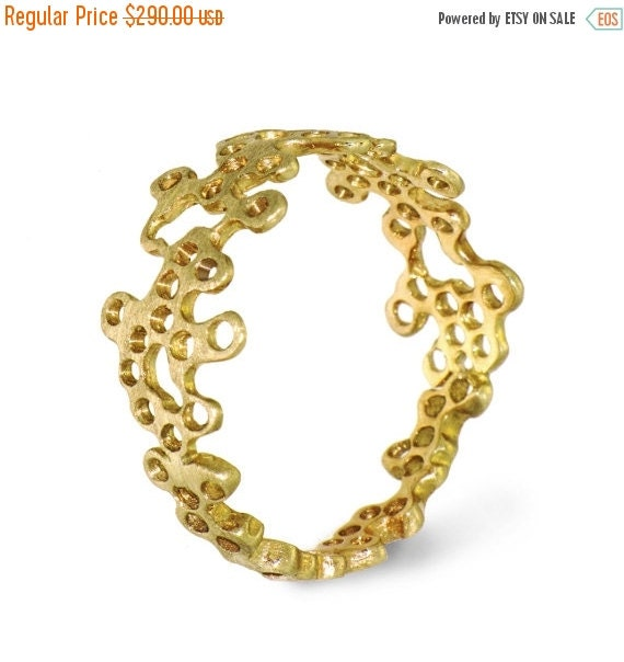 ON SALE - LACE Unique Gold Ring, 14K yellow Gold Ring, Designer Gold Ring,  Custom Italian Fine Jewelry