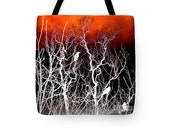 Birds In Trees Art, Tote Bag, Double-Sided, Reusable Shopping Bag, Red Black Overnight Bag, Wildlife Carry-All, White Silhouettes