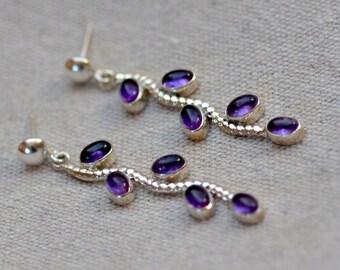 SALE. Amethyst Sterling Silver Posts. Purple Amethyst Earrings. Grape Vine. Silversmith. February Birthstone.