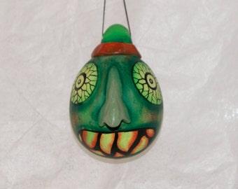 Halloween Gourd Ornament, Haunted Halloween Ghoul, Folk Art Halloween Gourd Ornament (238)