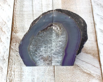 Agate Stone Bookends - Purple
