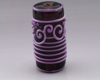 Purple Scrollwork Lines Dots Amethyst Etched SeaGlass Frosted Cylinder Focal Artisan Lampwork Bead Handmade Glass Heather Behrendt  SRA 3518
