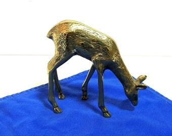 Brass Deer Figurine, Vintage Brass Deer
