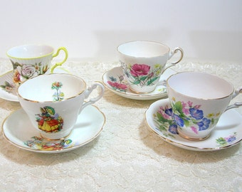 Collectible English China Teacups And Saucers, Assorted Teacups And Saucers, Instant Collection