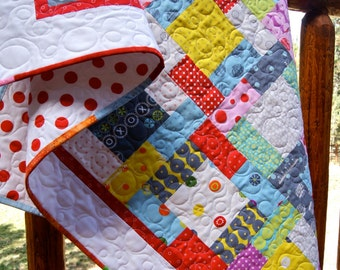 Quilt Baby Toddler Crib Cot Hey Dot Zen Chic Nursery Bedding Children Bright Scrappy Patchwork Red Grey Dots Modern