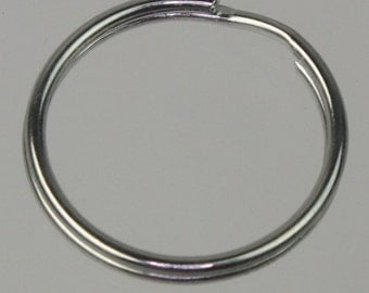 50 pcs of rhodium Plated Split Ring Keyring Key Chain Fob - 25mm 1 inch - ship from California USA