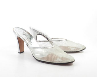 Silver Mesh Heels Vintage 1970s Shoes John Kloss Disco Leather High Heel Sandals Women's size 7 AA