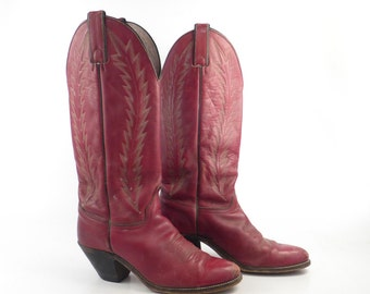 Red Cowboy Boots Vintage 1980s Abilene Rust Leather Tall Women's size 6 1/2 -7