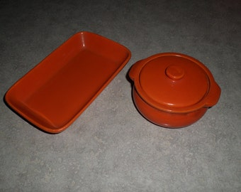 Stangl Pottery covered Casserole bowl & rectangular Tray dish tangerine orange red