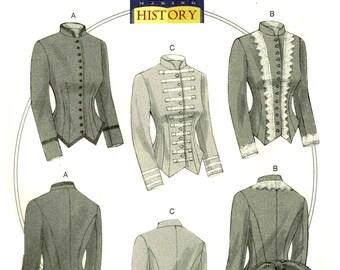 Steampunk Military Jacket  Butterick 6400 Sewing Pattern Historical Edwardian Size 6 8 10 12 14 16 18 20 22 Bust 31.5 32.5 34 36 38 40 42 44
