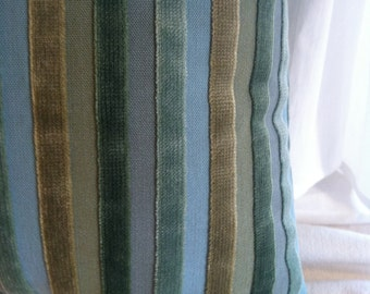 Handmade Teal Gold & Sage Velvet and Linen Pillow by Barneche/Stephanie Barnes