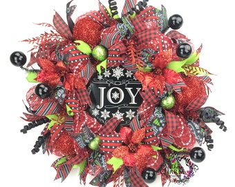 Christmas Deco Mesh Wreath w Chalkboard Joy Sign in Red Black Lime Green, Red Black Christmas, Holiday Wreaths, Christmas Door