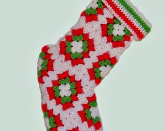 Christmas Stocking Crochet Granny Squares Red Green White