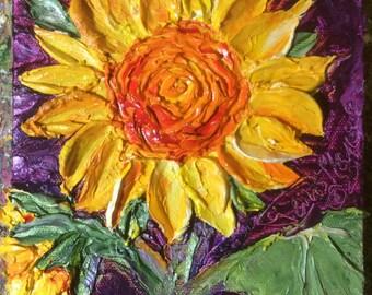 Sunflowers 6x6 Inch deep Original Impasto Oil Painting by Paris Wyatt Llanso
