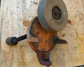 Vintage Hand Crank Bench Grinder, Russell, Sharpener, grinding stone, off grid, blacksmith, man cave, primitive industrial, Needs Work