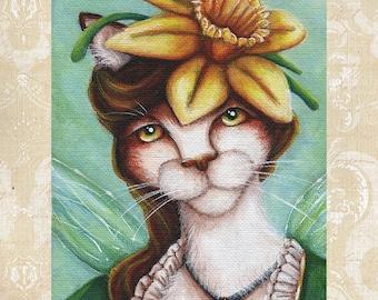 Daffodil Fairy Cat, Flower Fantasy Art, 8x10 Archival Reproduction Print