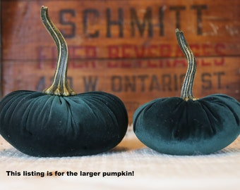 LARGE Scented Velvet Pumpkin, Dark Green