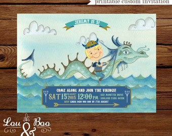 Water Dragon Viking Custom birthday printable party invitation - Dragon, Viking birthday invitation customise with your child's hair colour