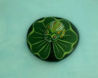Frog on lily pad-painted rocks-summer-dish garden decor-unique OOAK art object-collectible ornament-green gold-gift for gardener-terrarium