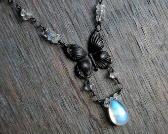 Rainbow Moonstone Necklace, Butterfly Necklace - Chrysalis by CircesHouse on Etsy