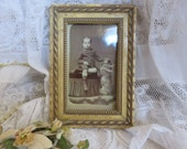 RESERVED FOR HEIDI..Divine Little Vintage French Cream Photo Frame, Original Photo Boy & Dog, 1900s Shabby Chic Picture Frame