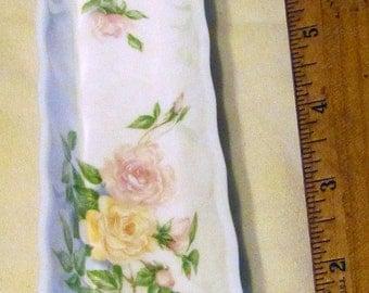 Roses on English Bone China elegant oblong dresser dish