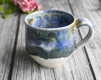 Rustic Blue and White Mug Handcrafted Pottery Coffee or Tea Cup Wheel Thrown Ready to Ship Made in USA