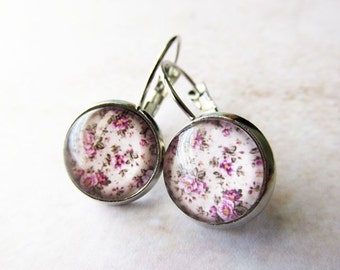 Vintage Inspired Pink Floral Rose Glass Dome Drop Earrings