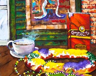 Mardi Gras, New Orleans, King Rex, King Cake, Mardi Gras Beads, Community Coffee, New Orleans Mardi Gras Souvenir Gift, FREE SHIPPING!