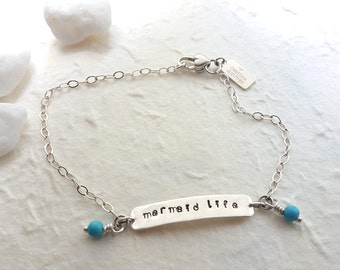 Mermaid Life - Sterling Silver and Turquoise Handmade Anklet Bracelet - Beach Boho - Hand Stamped Jewelry