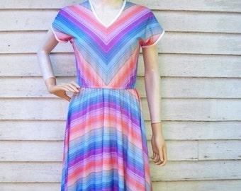 SALE 70s Rainbow Stripe Dress size Small Medium Chevron Stripes Colorful