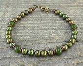 Green Pearl and Jade Anklet - Ankle Bracelet in Small to Large Sizes