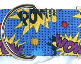 2 inch comic greyhound martingale dog collar, superhero, Marvel, Superman, colorful, wow, pow, zap--Comic Words