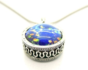 ON SALE Blue murano necklace in a sterling silver round pendant