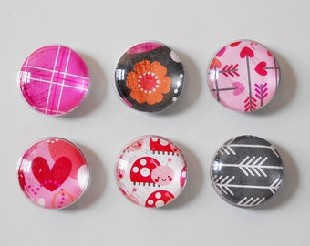 "1"" Round Super Strong Glass Magnets, Set of 6: Color Pop Dots - Sweetheart"