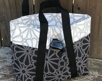 Black and White Flower Power - Small, 6 Pocket Tote