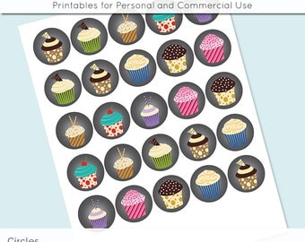 "Cupcake Digital Collage Sheets 1 inch 1.25"" and 1.5"" Circles Printable Download for Pendant Magnet Bottle Cap Necklaces JPG"